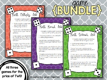 Dice Roll Game Bundle - Rounding, Subtracting, Multiplying {PRINT and GO!}