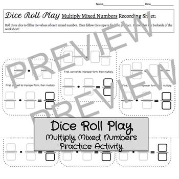 Dice Roll Play: Multiply Mixed Numbers