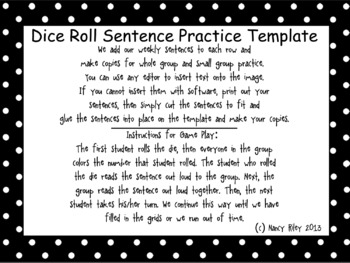"""Dice Roll Sentence Practice """"Game"""" Template Only, small/whole group reading prac"""