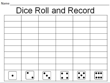 dice roll and record graphing by christina hammer tpt. Black Bedroom Furniture Sets. Home Design Ideas