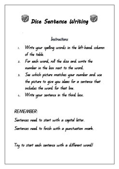 Dice Sentence Writing Sheets