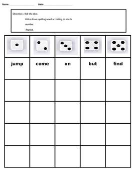 Dice Spelling (Editable)