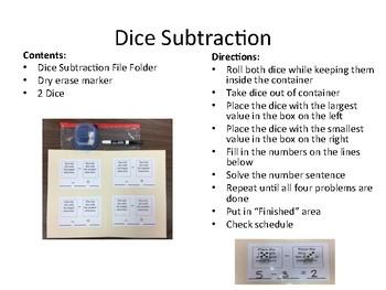 Dice Subtraction - Independent Work Task