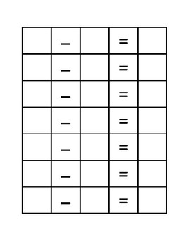 Dice Subtraction Problem Sheet