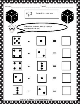Dice Subtraction Worksheet 1