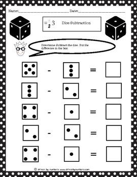 Dice Subtraction Worksheet 2