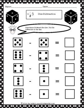 Dice Subtraction Worksheet 3