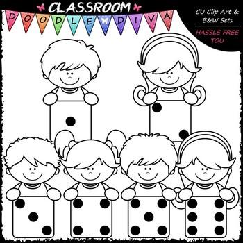 Dice Topper Kids Clip Art - Toppers Math Clip Art & B&W Set