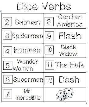 Dice Verbs (Superheroes)