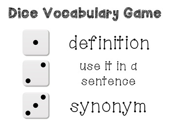 Dice Vocabulary Game Poster in Seven Colors