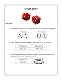 Dice War Addition Game