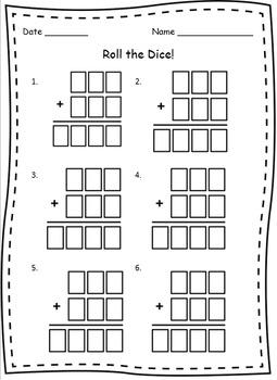 Dice Worksheet for 3-Digit Addition
