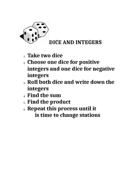 Dice and Card Activities for Math