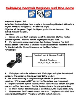 Multipliction Game using Dice and Dominoes