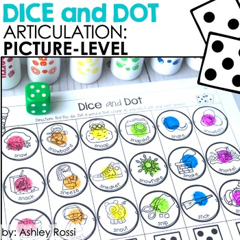 Speech Language Therapy Dice and Dot Articulation PICTURES