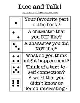 Dice and Talk Novel Center Activity