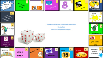 Dice game practising  basic knowledge  in French