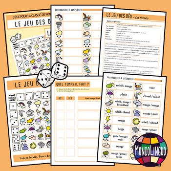 Dice game to teach French/FFL/FSL: Météo/Weather