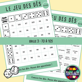Dice game to teach French/FFL/FSL: Nombres/Numebers - 0 to 105