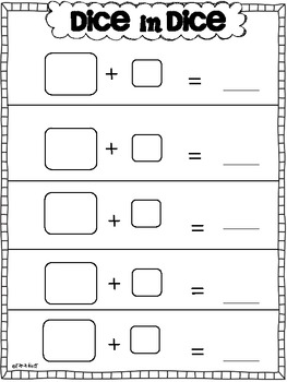 Dice in Dice Recording Sheets {Addition, Subtraction, Greater/Less Than}