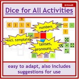 English dice templates: numbers, text, coloured die + blank formatted templates