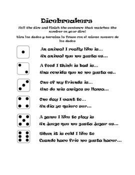 Dicebreakers for Bilingual Students