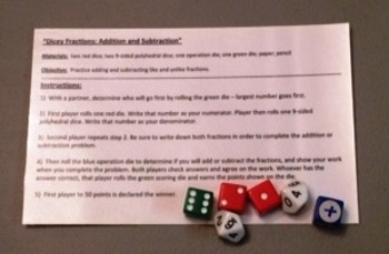 Dicey Fractions--Addition and Subtraction with Fractions game