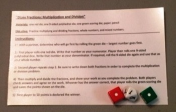 Dicey Fractions--Multiply and Divide Fractions game
