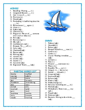 Dicey's Song: 50-word Prereading Crossword--Familiarizes Students with New Words