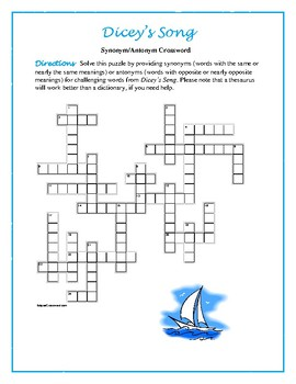 Dicey's Song: Synonym/Antonym Crossword--Fun and Unique!