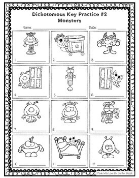 Dichotomous Keys for Beginners- Set of 4- Black and White Printing