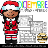 Diciembre Kinder (December print and go activities in Spanish)