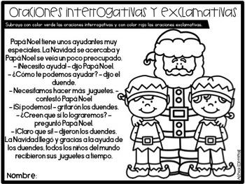 Diciembre 2do grado (December print and go activities in Spanish)