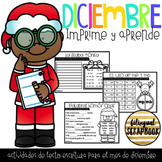 Diciembre 2do grado (December print and go activities in Spanish)