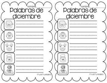 December Vocabulary Words in SPANISH - Diciembre