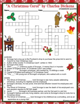 """Charles Dickens """"A Christmas Carol"""" Activities Crossword Puzzle & Word Search"""