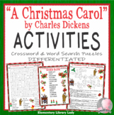 "Charles Dickens ""A Christmas Carol"" Activities Crossword Puzzle & Word Search"