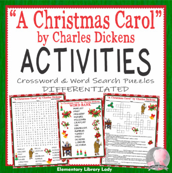 A Christmas Carol Activities Charles Dickens Crossword Puzzle & Word Searches