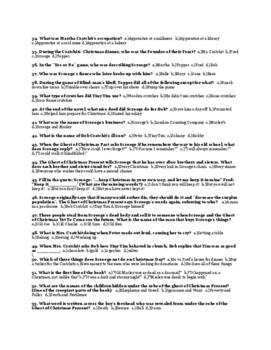 "Dickens' ""A Christmas Carol"" Final Exam (100 Multiple Choice Questions) & Key"
