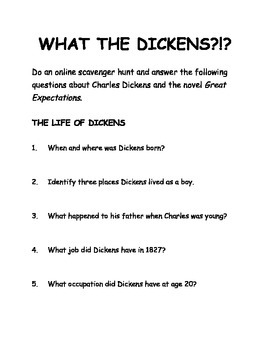 """Dickens/""""Great Expectations"""" Webquest Jigsaw"""