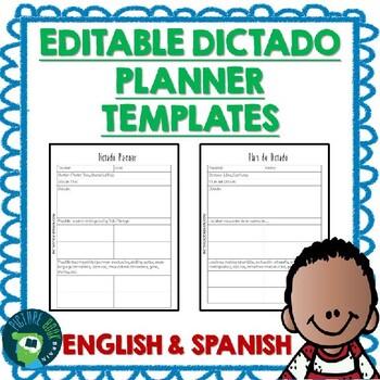 Dictado / Dictation Planner Templates - Bilingual English & Spanish