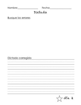 Dictado - Spanish Dictation writing paper