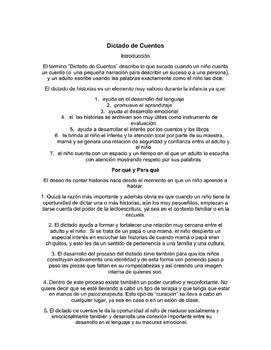 Dictado de Cuentos, Guía  Completa y Hojas de trabajo para Imprimir.