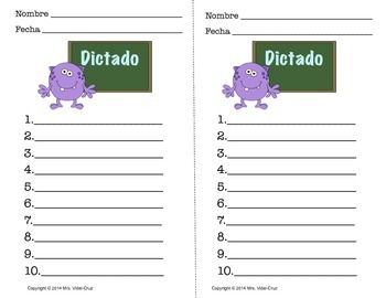 Dictados Monstruosos- Free download/Spanish Monster Spelling Test printables