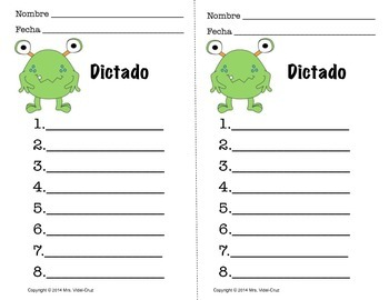 Dictados Monstruosos- Spanish Spelling Test Printables for the Whole Year!