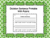 Dictation Sentence Printable with Rubric