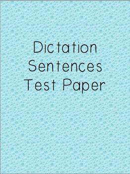 Dictation Sentences Test Paper