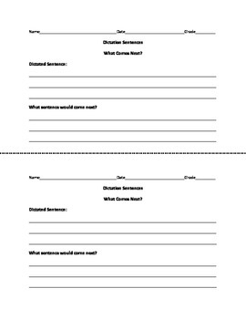 Dictation Sentences Worksheets