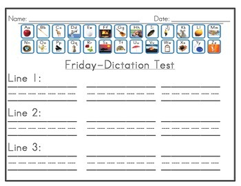 Dictation Sheet with Sound Chart