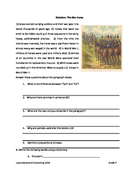 Dictation The War Horse